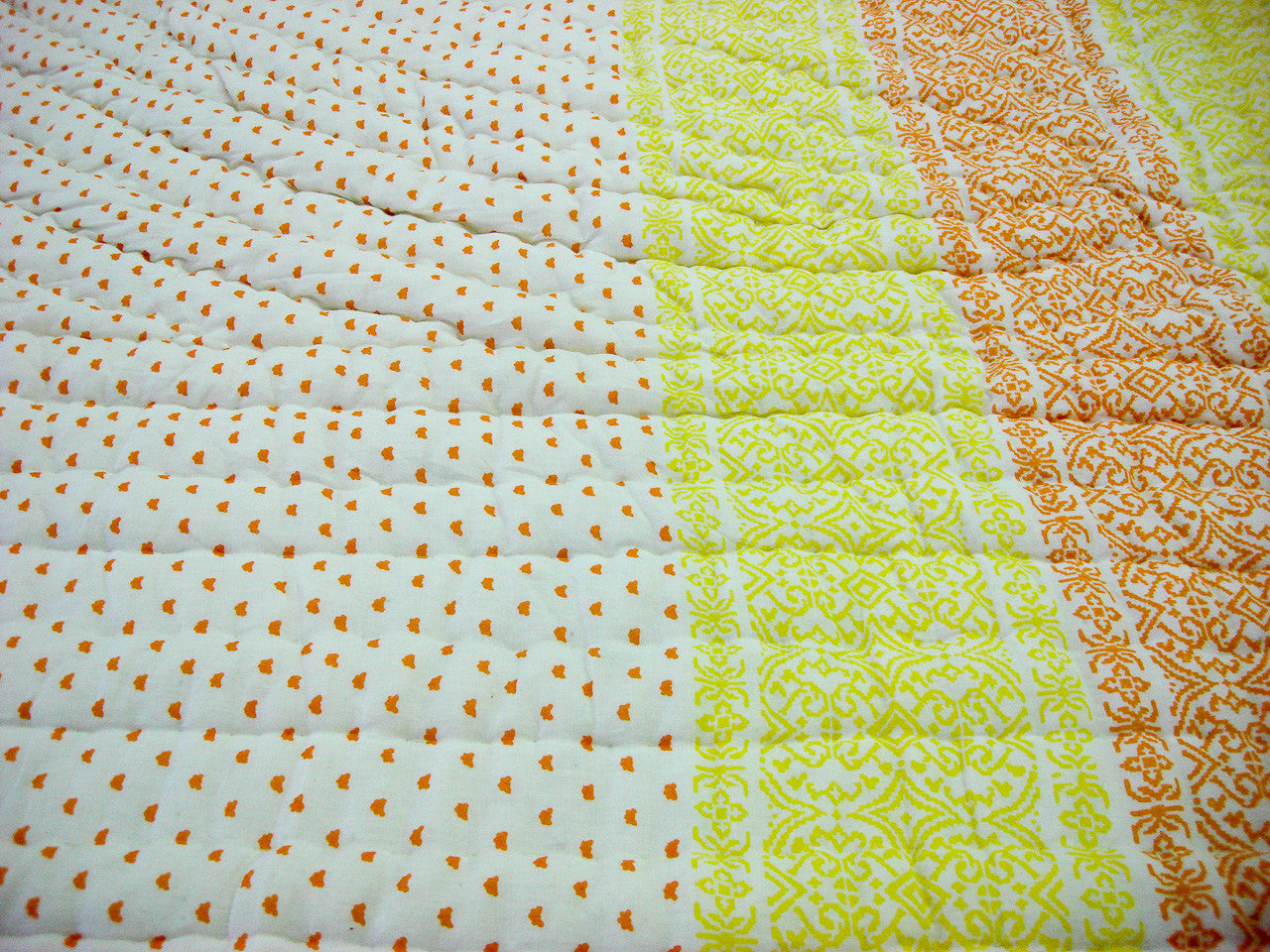 100% Handmade Cotton Queen Quilt - Yellow and Orange Prints - Pentagon Crafts