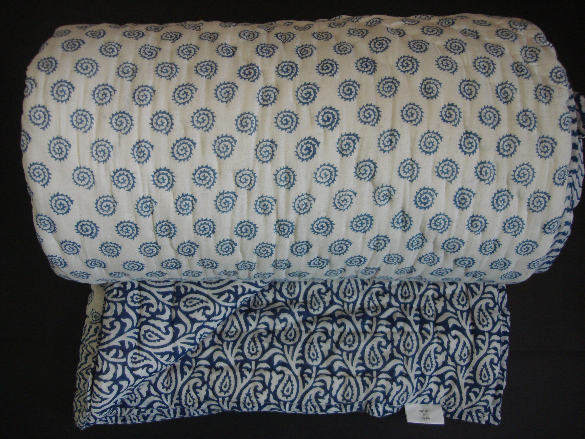 QBP 169 -100% Handmade Cotton Queen Quilt - Light Blue - Pentagon Crafts