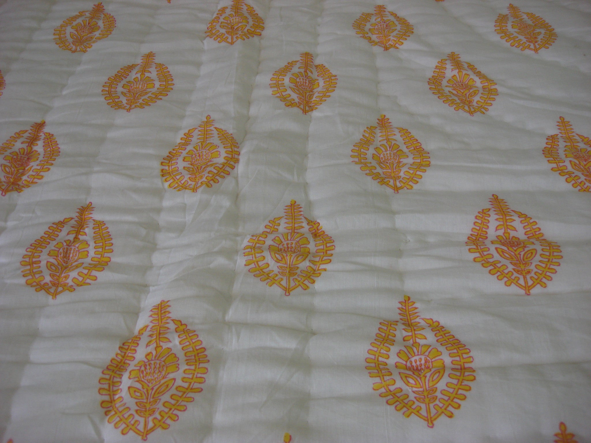 QBP 170 -100% Handmade Cotton Queen Quilt - Orange and multi colored stripes , Quilts - Pentagon Crafts, Pentagon Crafts  - 5