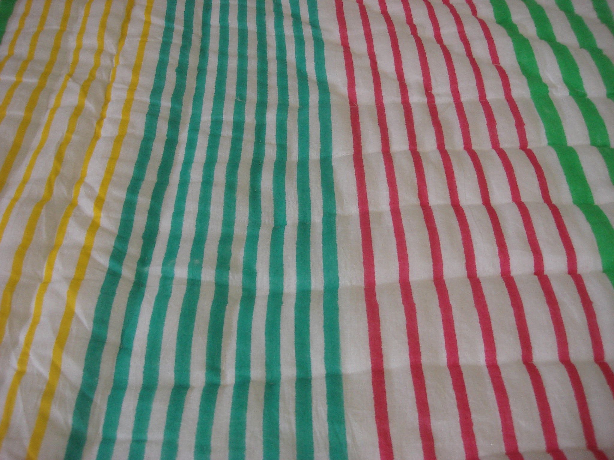 QBP 170 -100% Handmade Cotton Queen Quilt - Orange and multi colored stripes - Pentagon Crafts
