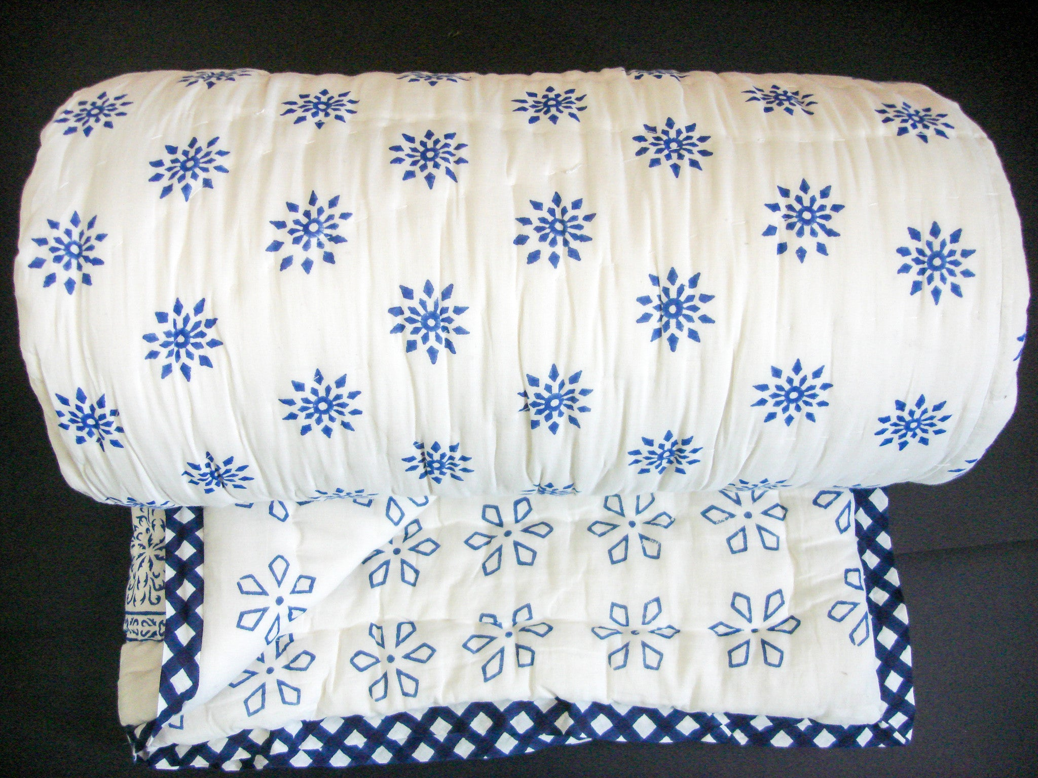 QBP 171 - 100% Handmade Cotton Queen Quilt - Blue Flower Blocks - Pentagon Crafts