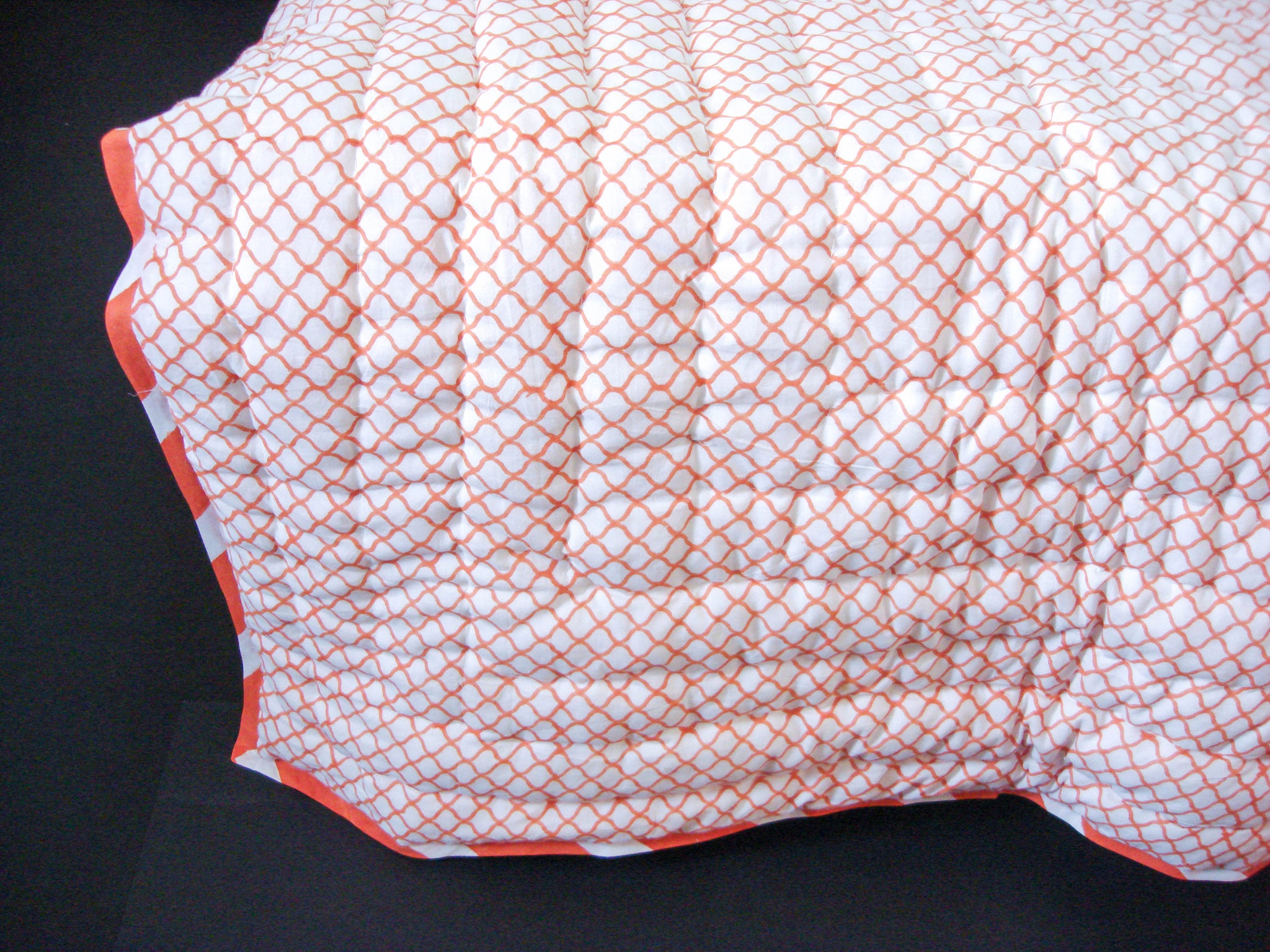 All New Roysha Handmade Cotton Queen Quilt in  Sunny Orange Geometric Pattern