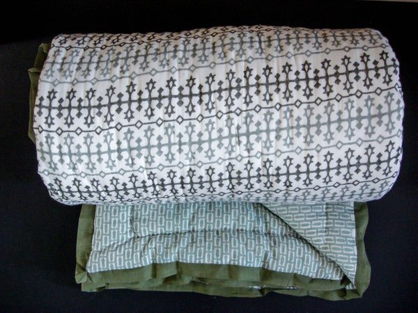 All New Roysha Handmade Cotton Queen Quilt in Gray Green Geometric Pattern