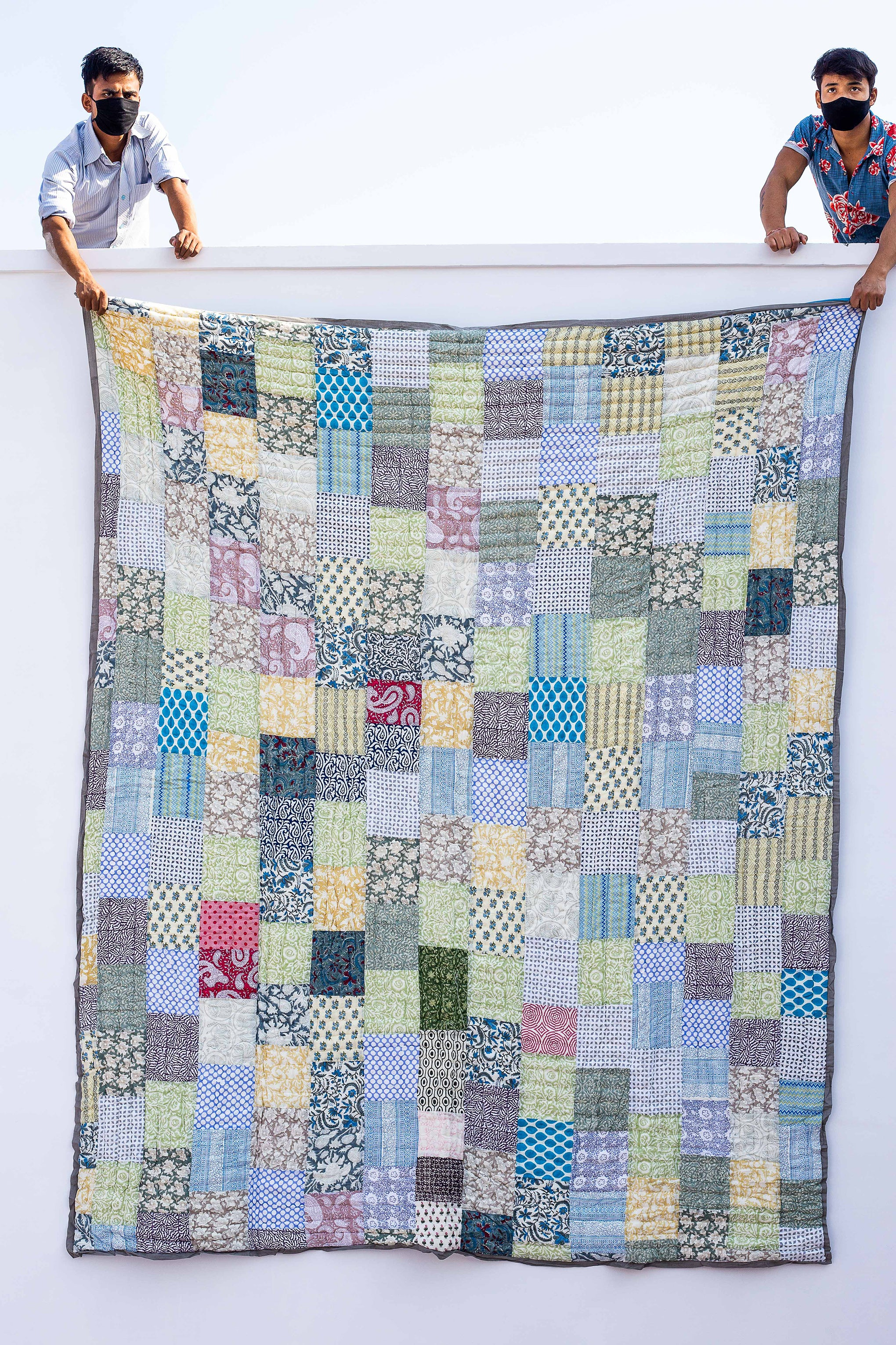 Roysha 2021 Patchwork Queen Quilt ,100 Percent Handmade, Hand Block printed, Jaipuri Razai, Hand Quilted, Natural Cotton, Blue, QPW-312
