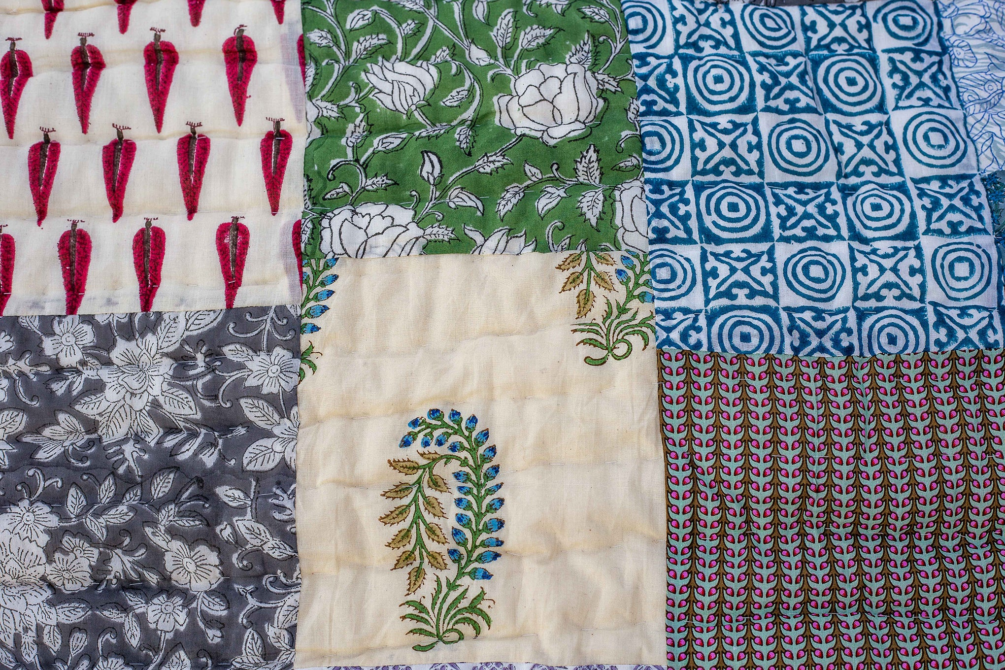 Roysha 2021 Patchwork Queen Quilt ,100 Percent Handmade, Hand Block printed, Jaipuri Razai, Hand Quilted, Natural Cotton, Blue, QPW-320