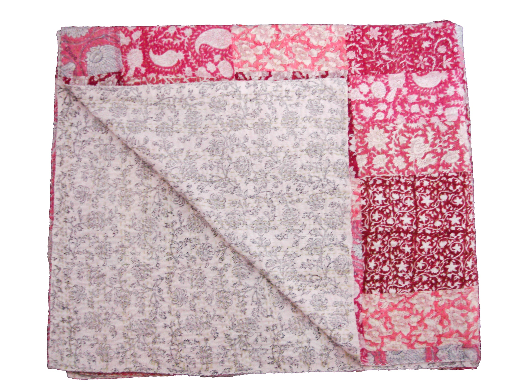 Handmade Patchwork Throw - Pink Multi Colored Patchwork