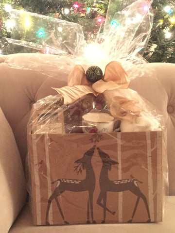 GIft Box with matching Soap, Candle, Body Oil, Salt Scrub, and Bath Bomb