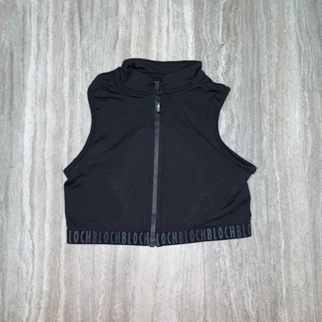 Piping Detailed Zip Front Crop Top