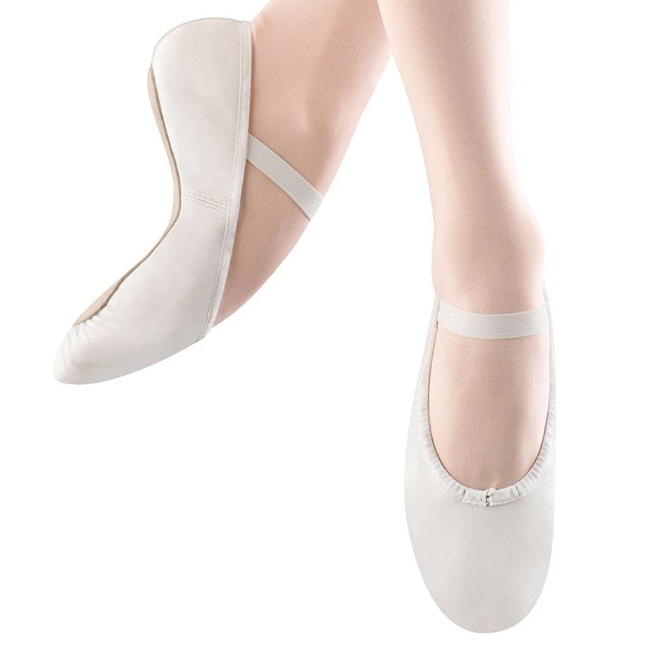 Girls Dansoft Leather Ballet- White