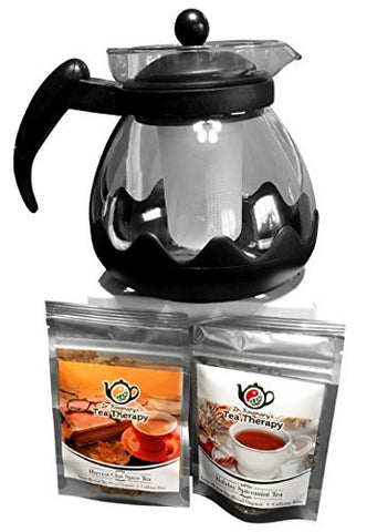 Large Glass/Plastic (42 oz.) Tea Pot with Infuser and 2 Great Flavored Organic Herbal Teas - Harvest Chai Spice and Holiday Spicemint! Wonderful for housewarming gifts! Great Tea Sampler Gift Set.