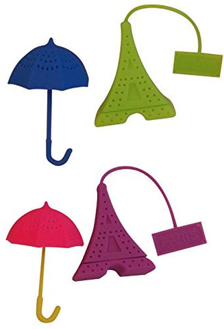 Springtime in Paris Tea Infuser set of Four - 2 Eifell towers and 2 umbrellas - 4 different colors in each pack - we choose for you! Strainer Set for FUN tea party of Loose herbal tea Steepers.