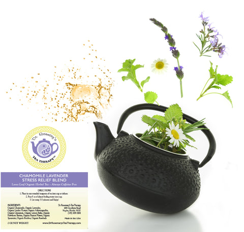 Chamomile Lavender Stress Relief Blend -Loose Leaf Organic Herbal Tea - Caffeine & Gluten Free.