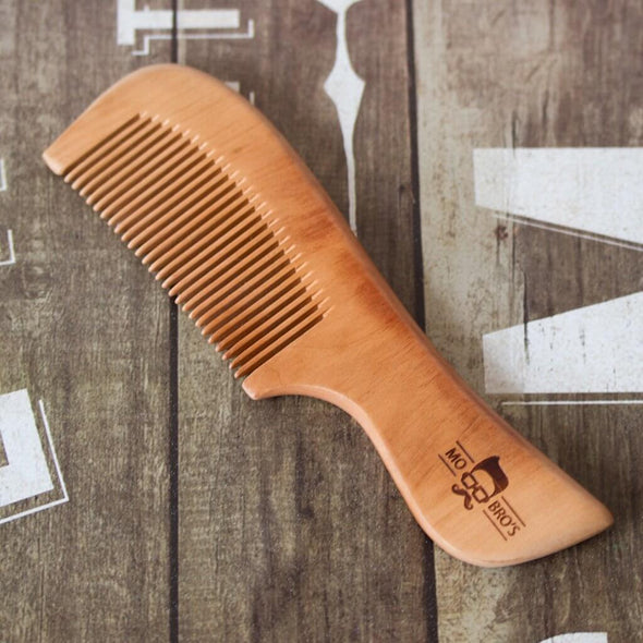 Wooden Beard Comb With a Handle