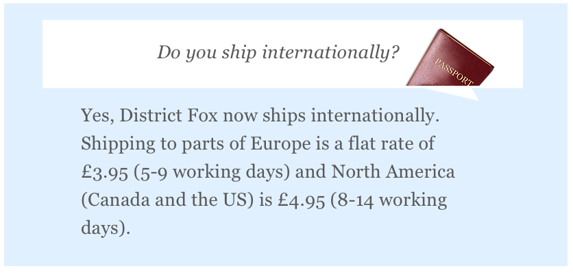 District Fox International Shipping