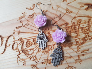 Purple Rose Earrings With Dangly Hamsa Hand Charm