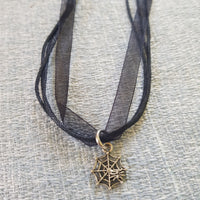 Spiderweb Charm On Black Ribbon Necklace