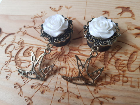 3D Rose with Dangly Swallow Plugs ↠ White ~ Pair