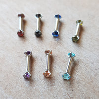 Double-Gemmed Cartilage Bar ~ 3mm Gem