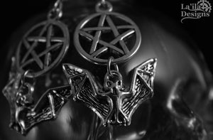 Pentacle Bat Earrings