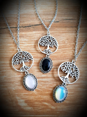 Crystal Cabochon & Tree Of Life Necklace