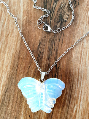 Carved Crystal Butterfly Necklace