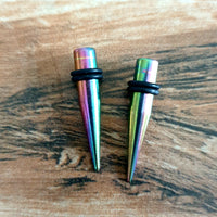 Surgical Steel Tapers ↠ Rainbow ~ Pair