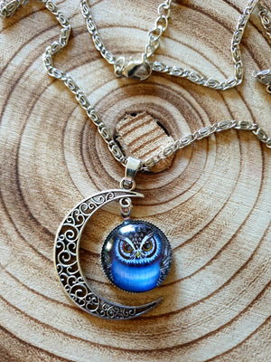 Crescent Moon & Owl Necklace