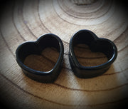 Acrylic Heart Tunnels ↠ Black ~ Pair