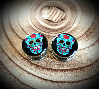 Blue Sugar Skull Plugs