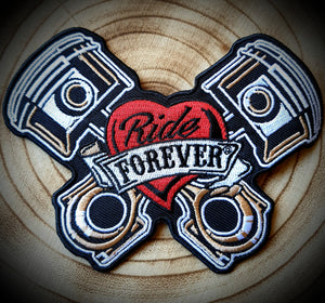 Ride Forever Motorcycle Piston Badge Patch
