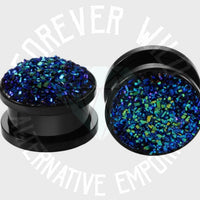 Crushed Diamantè Plugs ↠ Blue ~ Pair