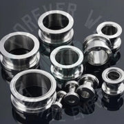 Steel Screw-Fit Tunnels ↠ Silver ~ Pair