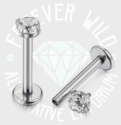 Crystal Prong-Set Labret ↠ Silver ~ 4mm Gem • Sold Individually