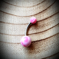 Cloudy Pink Acrylic Bellyring