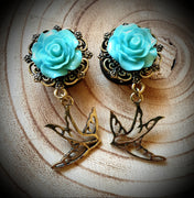 3D Rose with Dangly Swallow Plugs ↠ Blue ~ Pair