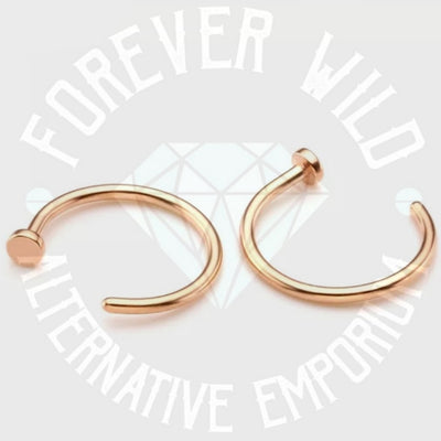 Nose Hoop With Stopper ↠ Rose Gold