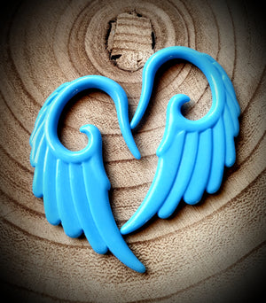 Angel Wing Ear Hangers ↠ Blue ~ Pair