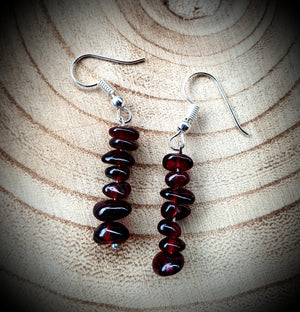 Garnet Gemstone Cluster Earrings