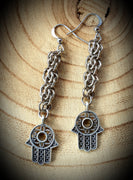 Fieldstone Drop With Hamsa Hand Chainmaille Earrings