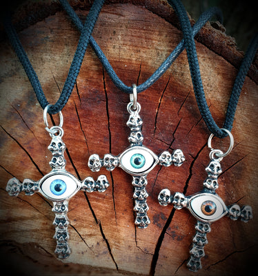 Evil Eye Skull Cross Necklace