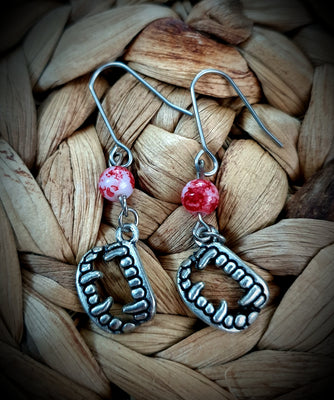 Bloody Vampire Fangs Beaded Earrings