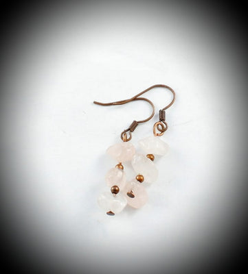 Rose Quartz Copper Earrings