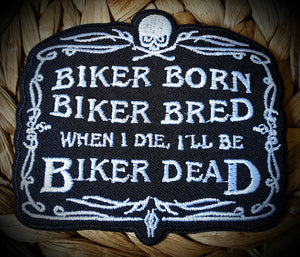 Biker Born Crest Biker Badge Patch
