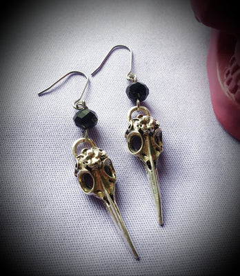 Floral Bird Skull Earrings