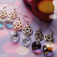 Pentagram Faceted Heart Earrings