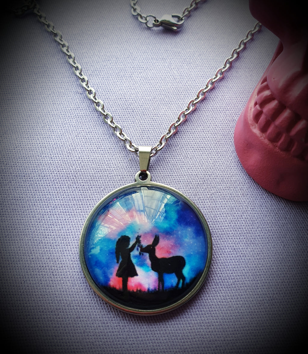 Galactic Sky Cabochon Steel Necklace
