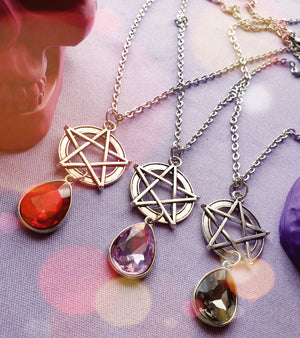 Rustic Pentagram Gem Necklace