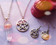 Pentacle Crystal Necklace & Earrings Combo