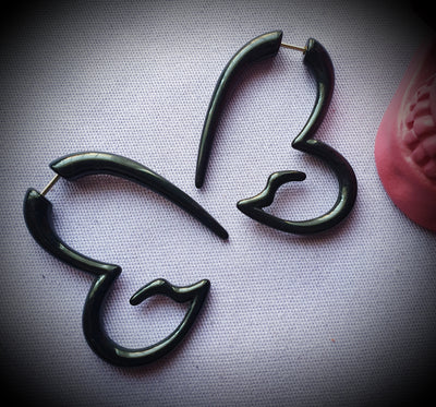 Faux Tribal Heart Spiral Earrings