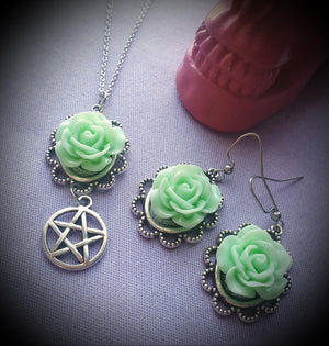 Rose & Pentagram Necklace & Earrings Matching Set